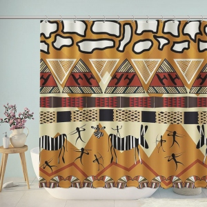 Ethnic Style Prehistoric Tribe Life Shower Curtain