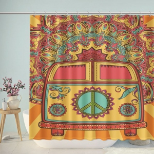 Vintage Hippy Car Ornamental Peace Sign Shower Curtain