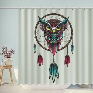 Owl Cross Stitch Pattern Dream Catcher Shower Curtain