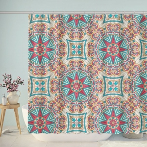 Traditional Boho Pattern Style Graphic Shower Curtain