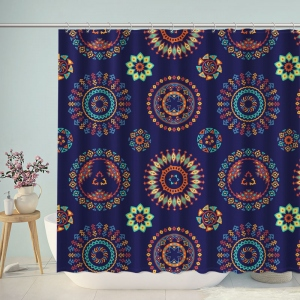 Abstract Blue Ethnic Pattern Shower Curtain