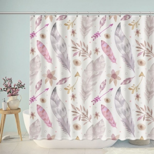 Watercolor Peacock Feather Pattern Shower Curtain