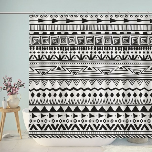 Black and White Boho Style Shower Curtain
