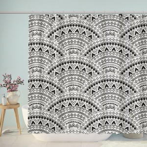 Black and White Boho Sector Pattern Shower Curtain
