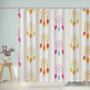 Watercolor Stitch Pattern Dream Catcher Shower Curtain