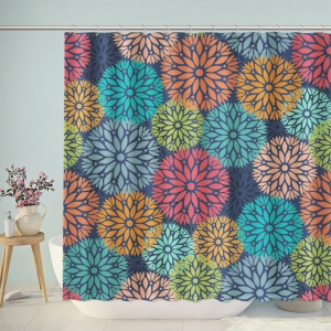 Boho Floral Pattern Bathroom Shower Curtain
