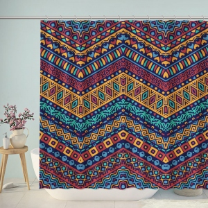 Full Color Pattern with Ethnic Ornaments Shower Curtain