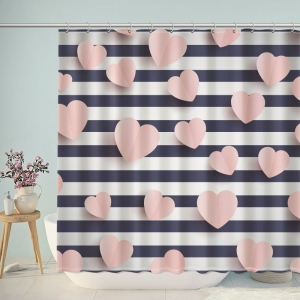 Pink Hearts on Striped Background 3D Shower Curtain