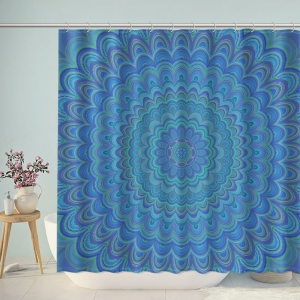 Psychedelic Mandala Ornament Circular Symmetrical Pattern Shower Curtain
