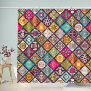 Beautiful Patchwork Boho Floral Pattern Shower Curtain
