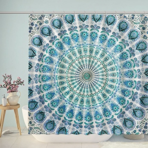 Mandala Ornament Concentric Circular Symmetrical Pattern Shower Curtain