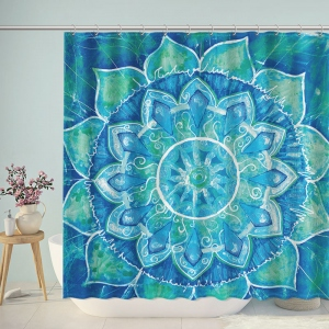 Blue Watercolor Bohemian Shower Curtain