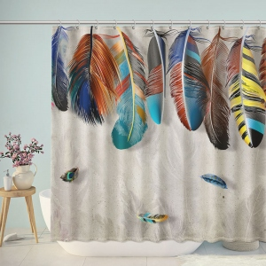 Colorful Bohemian Feather Shower Curtain