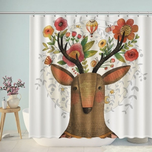 Sika Deer Illustration Bathroom Shower Curtain