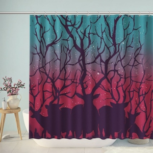 Forest Animals Silhouette Bathroom Shower Curtain