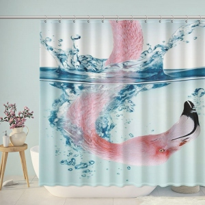 Flamingo Head Underwater Bathroom Shower Curtain