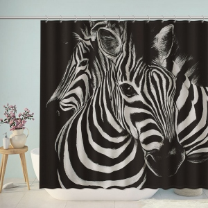 Black and White Zebra Painting Shower Curtain
