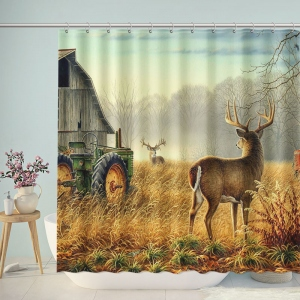 Deer Old Barn Farm Tractor Naturally Shower Curtain