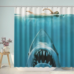 Shark Attack Swimming Women Shower Curtain