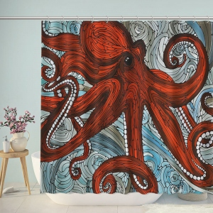 Red Octopus Print Bathroom Shower Curtain