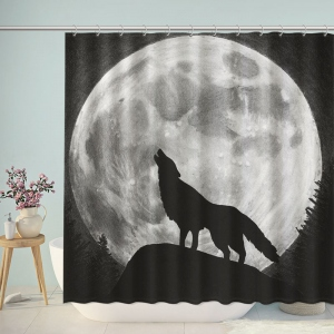 Super Wolf Howling at the Moon Shower Curtain