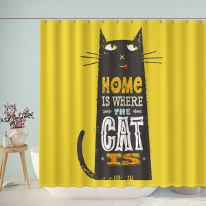 Home Is Where The Cat Is Bathroom Shower Curtain