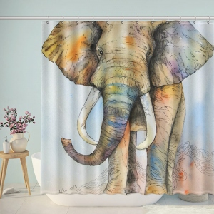 Watercolor Painting of Elephant Bathroom Shower Curtain