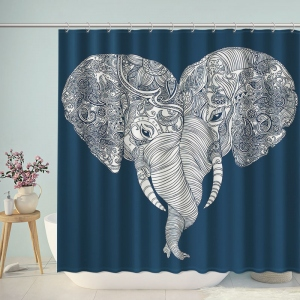 Mandala Elephant in Love Heart Shaped Shower Curtain