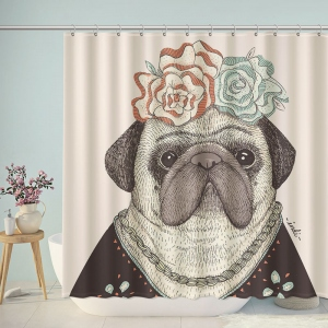 Cute Frida Pug Kahlo Art Shower Curtain