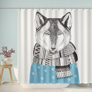 Hand Painted Fox Wear Scarf Shower Curtain