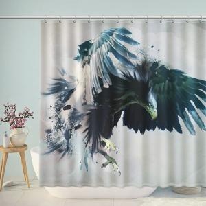 Watercolor Eagle Art Bathroom Shower Curtain