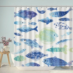 Schools of Tropical Fish Watercolor Shower Curtain
