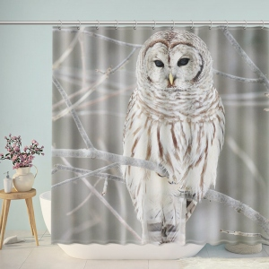 White Owl Naturally Bathroom Shower Curtain