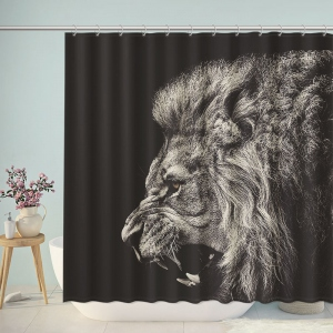 Black And White Lion Shower Curtain