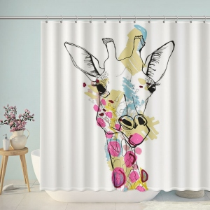 Watercolor Giraffe Bathroom Shower Curtain