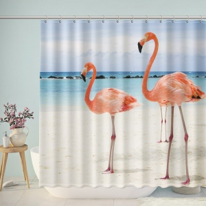 Aruba Island Flamingo Beach Shower Curtain