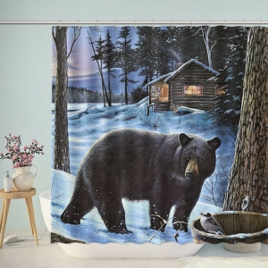Black Bear Winter Outdoor Shower Curtain
