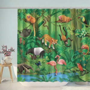 Tropical Jungle Animals Shower Curtain