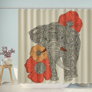 Mandala Indian Elephant Pattern Shower Curtain