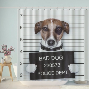 Funny Bad Dog Bathroom Shower Curtain