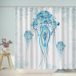 Blue Dream Jellyfish Pattern Shower Curtain