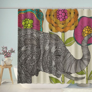 Indian Mandala Elephant Shower Curtain