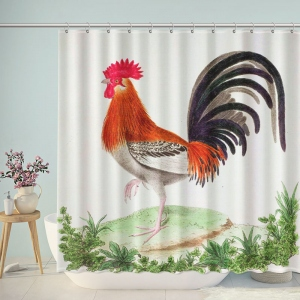 Rooster Painting Bathroom Shower Curtain