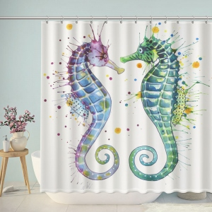 Watercolor Seahorse Bathroom Shower Curtain