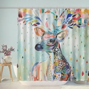 Watercolor Deer Painting Shower Curtain
