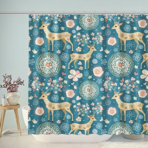 Christmas Deer Holiday Pattern Shower Curtain
