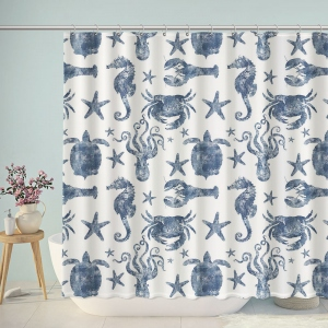 Blue Nautical Marine Life Pattern Shower Curtain