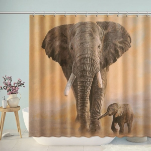 Elephant Parent Child Shower Curtain