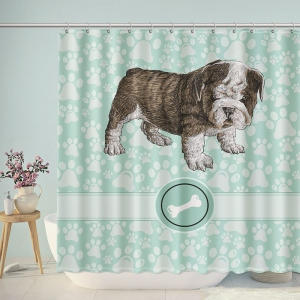 Pug Paw Prints Shower Curtain