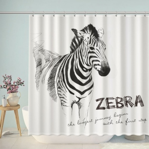 Black and White Zebra Sketch Shower Curtain